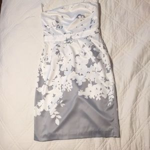 Grey/White Strapless BR Floral Dress